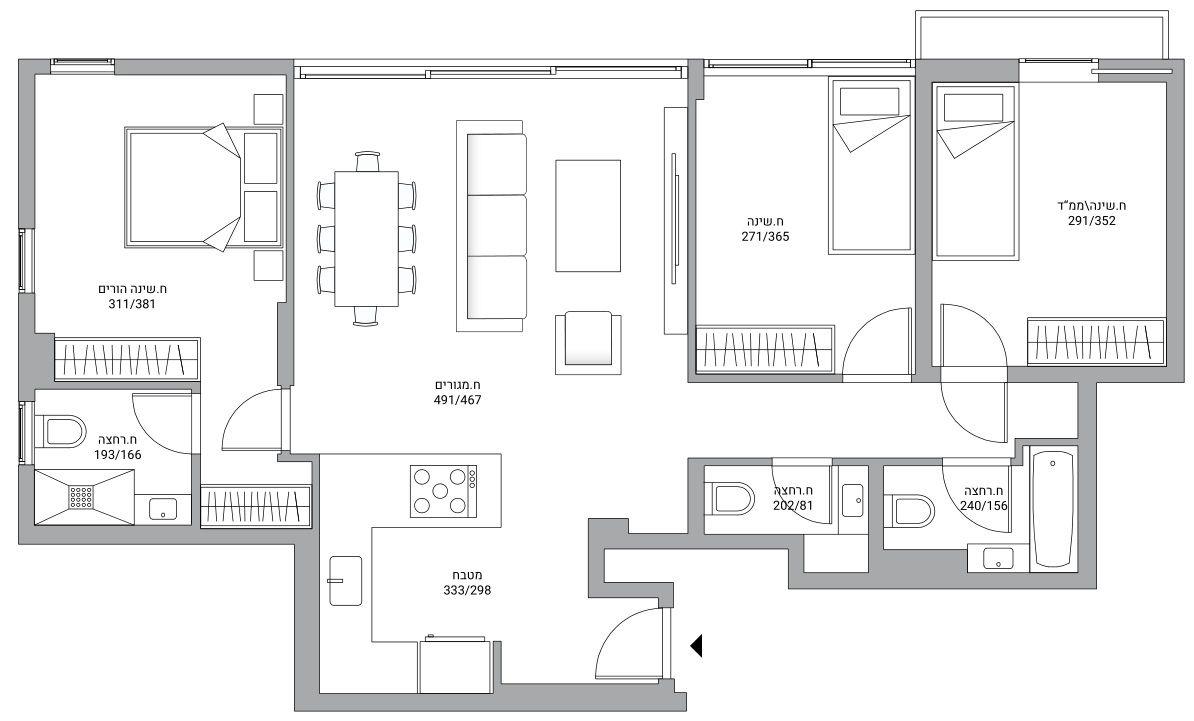 למכירה בלב העיר 4 חדרים עם חניה ומרפסת